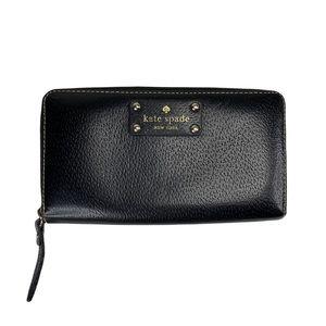 Kate Spade Wellesley Black Leather Long Zip Wallet Signature Pink Interior